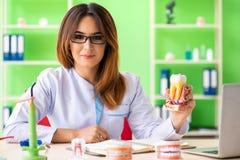 El dentista de la mujer que trabaja en el implante de los dientes imagen de archivo