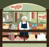 El departamento retro con la carne y el queso assortmen Imagen de archivo