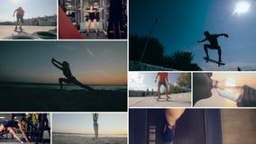 El deporte activo multiscreen Pared video con la gente que hace deportes almacen de metraje de vídeo