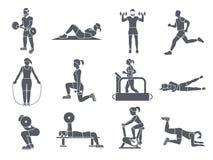 El deporte del gimnasio ejercita iconos Fotografía de archivo libre de regalías