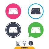 El deporte del ` s de las mujeres pone en cortocircuito el icono de la muestra Símbolo de la ropa Imágenes de archivo libres de regalías