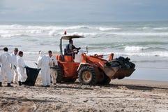 El derramamiento de petróleo de Rena limpia a trabajadores Foto de archivo