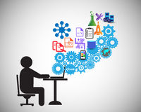 El desarrollador de software o el freelancer está cifrando, esto también representa a un analista del negocio que recolecta los r stock de ilustración