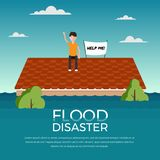 El desastre de inundación con el ser humano y me ayuda bandera en el tejado del diseño del vector de la casa ilustración del vector
