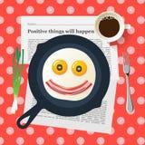 El desayuno divertido, cara sonriente hace con los huevos fritos ilustración del vector