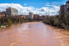 Desbordamiento del río Fotografía de archivo libre de regalías
