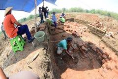 El descubrimiento de un templo antiguo Fotografía de archivo