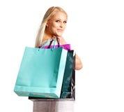 El descuento de la venta hace que un Shopaholic sonríe Foto de archivo
