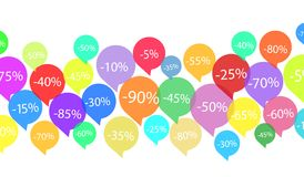 El descuento de las ofertas marca con etiqueta en el blanco, ejemplo común del vector libre illustration