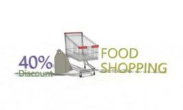 El descuento %40 en blanco, 3d de la compra de comida rinde Imagenes de archivo