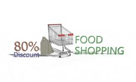 El descuento %80 en blanco, 3d de la compra de comida rinde Fotos de archivo libres de regalías
