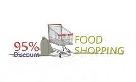 El descuento %95 en blanco, 3d de la compra de comida rinde Imágenes de archivo libres de regalías