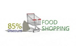 El descuento %85 en blanco, 3d de la compra de comida rinde Imágenes de archivo libres de regalías