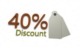 El descuento %40 en blanco, 3d rinde Fotografía de archivo libre de regalías