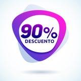 El 90% Descuento, texto español del descuento del 90%, etiqueta de precio moderna de oferta de la etiqueta de la venta Imagenes de archivo