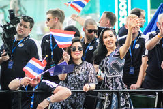 El desfile de la victoria de una ciudad inglesa de Leicester del club del fútbol, el campeón de la liga primera inglesa 2015 - 20 Fotos de archivo libres de regalías