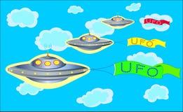 El desfile de UFOs en el cielo azul Fotografía de archivo libre de regalías