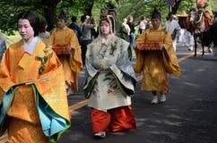 El desfile del festival de Kyoto Aoi, Japón imagen de archivo libre de regalías