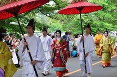 El desfile del festival de Kyoto Aoi, Japón foto de archivo libre de regalías
