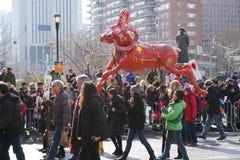 El desfile lunar chino 92 del Año Nuevo 2015 Imagen de archivo libre de regalías