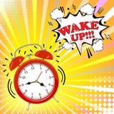 El despertador con la burbuja cómica con despierta palabra en el fondo de semitono Estilo retro del arte pop Ilustración del vect Fotografía de archivo