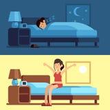 El despertar el dormir de la mujer Noche de relajación del dormitorio de la muchacha, mañana despierta que estira sentarse en el  stock de ilustración