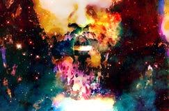 El detalle de Jesús hace frente en espacio cósmico versión del collage del ordenador libre illustration