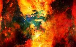 El detalle de Jesús hace frente en espacio cósmico versión del collage del ordenador Fotos de archivo libres de regalías