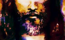 El detalle de Jesús hace frente, resume al collage colorido ilustración del vector