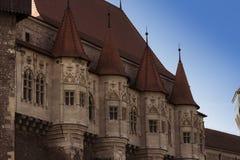 El detalle de la arquitectura del castillo de Corvin, castillo de Hunyadi, castillo de Hunedoara foto de archivo libre de regalías