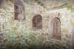 El detalle de la escalera espiral vieja va abajo Sintra, Quinta da Regaleira Fotos de archivo