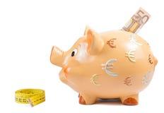 El detalle de la hucha, de la cinta de la medida y del billete de banco del euro cincuenta, concepto para el negocio y ahorra el d imagen de archivo