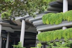 El detalle de un edificio moderno en Singapur cubrió por la vegetación Fotografía de archivo