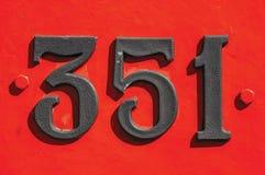 El detalle del número del hierro en una locomotora vieja en Monte Alegre hace Sul Imágenes de archivo libres de regalías