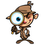El detective lindo de la historieta investiga con la capa marrón y observa el vidrio Foto de archivo