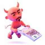 el diablo 3d le ofrece un taco de billetes de banco euro Fotografía de archivo libre de regalías