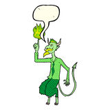 el diablo de la historieta en camisa y el lazo con discurso burbujean Foto de archivo libre de regalías