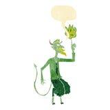 el diablo de la historieta en camisa y el lazo con discurso burbujean Imagen de archivo libre de regalías