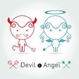 El diablo rojo y el ángel lindo Imagenes de archivo