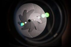 El diafragma de una abertura de lente de cámara Imagen de archivo libre de regalías