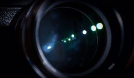 El diafragma de una abertura de lente de cámara Fotografía de archivo