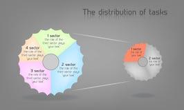 El diagrama con las opciones, procesos asoció el circuito ilustración del vector