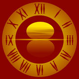 El dial en la puesta del sol ilustración del vector