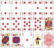 El diamante de las tarjetas del póker fijó diseño clásico de cuatro colores Fotografía de archivo libre de regalías