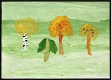 El dibujo de Autumn Forest Child Foto de archivo libre de regalías