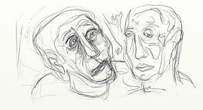 El dibujo de Digitaces en el formato de pantalla ancha, figurados, minimalistas, delicados y ayunan, los rostros humanos que obra Fotos de archivo