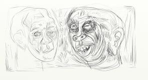 El dibujo de Digitaces en el formato de pantalla ancha, figurados, minimalistas, delicados y ayunan, los rostros humanos que obra Foto de archivo