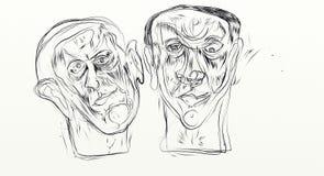 El dibujo de Digitaces en el formato de pantalla ancha, figurados, minimalistas, delicados y ayunan, los rostros humanos que obra Foto de archivo libre de regalías
