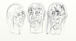 El dibujo de Digitaces en el formato de pantalla ancha, figurados, minimalistas, delicados y ayunan, los rostros humanos que obra Fotografía de archivo libre de regalías
