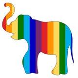 El dibujo de esquema de un elefante pintó colores del arco iris Foto de archivo
